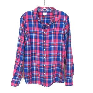J.CREW 'The Perfect Shirt' Blue/Pink Plaid Shirt-M